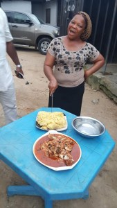 , First in history? Nigerian woman celebrates her birthday as she happily cuts her 'Eba Birthday Cake' (Photos), Effiezy - Top Nigerian News & Entertainment Website