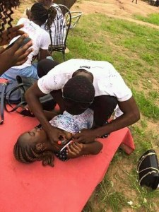 Students signs on boobs of a polytechnic female student