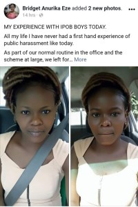 """""""My experience with IPOB boys in Aba today"""" – Young lady shares experience"""