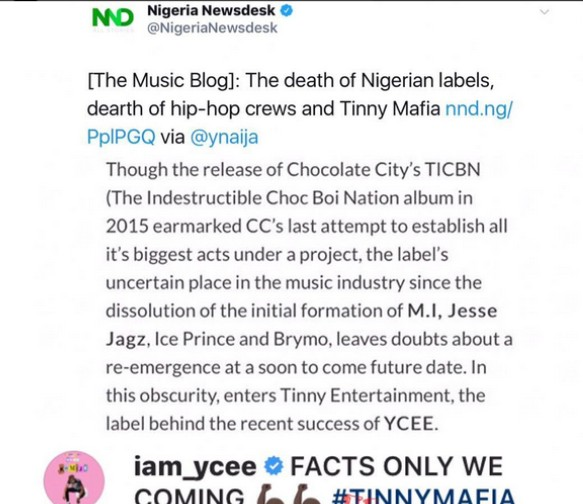 , M.I Abaga Comes For Ycee Who Shared Negative Story About His Record Label, Effiezy - Top Nigerian News & Entertainment Website