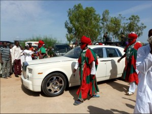 Emir Sanusi And His White Rolls Royce At The Commissioning Of Olam Feed Mill