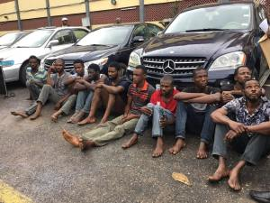 Lagos Police arrest 10 robbery suspects, recover 6 stolen cars (Photos)