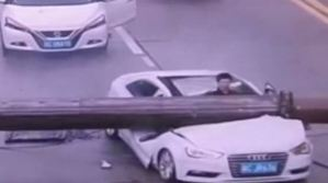 Unbelievable: Driver Miraculously Survives After Crane Crashes On His Car in Broad Daylight (Video)