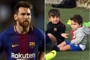 Like father, like sons, Lionel Messi's two sons 'start' training at Barcelona (Photo)