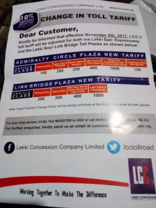 Check out the new price rate for Lekki Toll gates