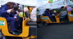Groom spotted in Abia State heading to his wedding ceremony in a Keke (photos)