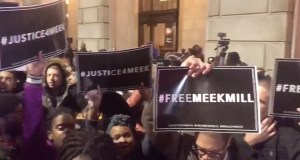 Hundreds of Supporters of imprisoned US Rapper Meek Mill rally outside courthouse (Video)