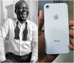 An anonymous person gifts OAP Osi Suave an Iphone (Photos)