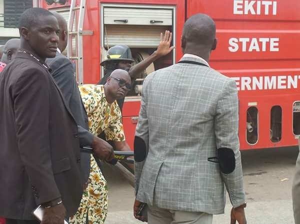 Fayose stops his convoy to help in quenching fire in a filling station in Ekiti State (Phones