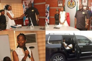 See the 14-Year Old Abia State governor along with her team & security (photos)