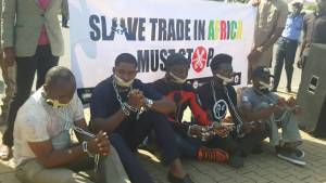 Charlyboy group storms Foreign Affairs in chains, handcuffs over Libya slave trade