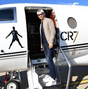 Cristiano Ronaldo takes a photo on his Private Jet (Photo)