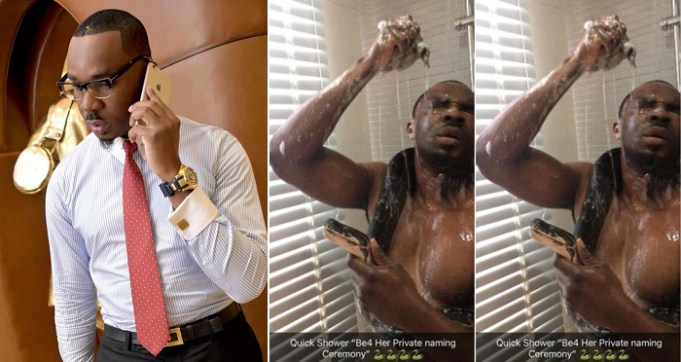 "Nigerian big boy, Pretty Mike Bathes With His Python, Names her ""Toke Makinwa"" (Photos)"