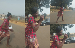 Male SUG president contestant, dresses like a lady to gather votes (Photos)