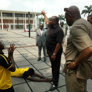 Protesting Rivers United Players Prostrate To Beg Gov. Wike (Photos)