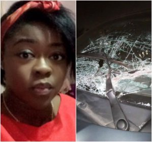 Nigerian Lady Cries Out After LASTMA Officials Allegedly Broke Her Windscreen While Attempting To Switch Lane (Photo)