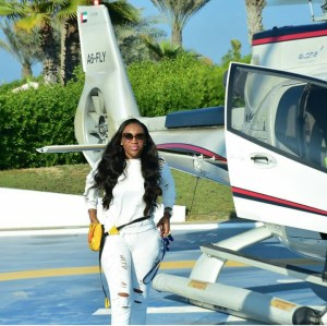 Nollywood Actress, Ebube Nwagbo Flies In An Helicopter In Dubai (photo)