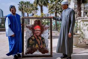 Portrait Of Buhari Dressed In Igbo Attire Presented To Him By Nigeria Ambassador to Ethiopia (Photos)