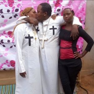 See this Prophet kissing his househelp and wife at the same time (Photos)