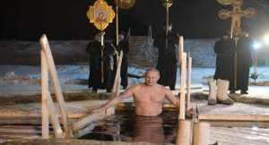 Russian President, Putin enters cold water to mark baptism of Jesus Christ in traditional ritual (Photo)