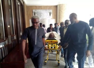 Olisa Metuh Appears In Court On A Stretcher In Abuja (Photos)