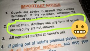 Hotel In Gombe State Warns Guests Against Fornication, Adultery And Promiscuity (Photo)
