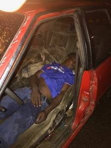 Drunk Driver Urinates On Himself, Sleeps Off After Car Accident In Lagos. (Photos)