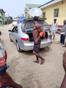 See the way this thief was tied and carried to a police station (Photos)