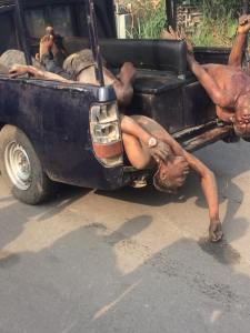 See the armed robbers killed by the Nigerian Police in Sapele, Delta State this morning (Graphic Photos)