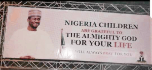 Check out Yusuf Buhari's Welcome Back Billboard; Nigerians react angrily (Photos)