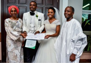 VP Osinbajo & Wife Attend Wedding Of Blogger Adetuke Morgan (Photos)