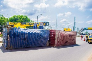 Container Falls At Sanya Bus Stop In Lagos (photos)