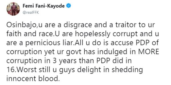 """, """"Osinbajo You Are Corrupt, A Liar, Disgrace, Traitor To Your Faith & Race"""" – Fani Kayode, Effiezy - Top Nigerian News & Entertainment Website"""