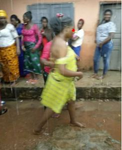 Woman Stripped & Publicly Disgraced For Stealing At A Wedding In Delta (Photos)