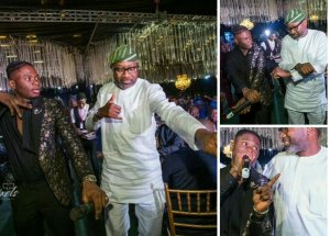 Check out Billionaire oil mogul Femi Otedola pictured doing the 'Shaku Shaku' dance with Lil Kesh at the wedding dinner of Fatima Dangote and Jamil Abubakar in Lagos. (Photos)