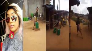 Popular slay queen spotted fetching water .. She ran when she was spotted (Video)