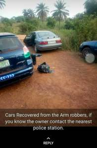 See The Cars Used By Armed Robbers To Escape The Offa Bank Robbery In Kwara (Photos)
