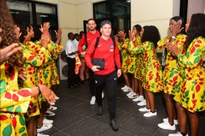 See How Ladies Welcomed Atletico Madrid Players After Landing In Uyo. (Photos)