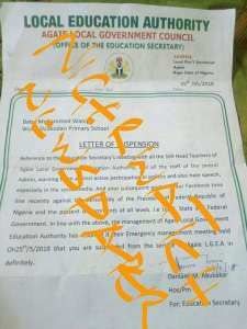 School Teacher Suspended Over Facebook Post Against Buhari & Sani Bello (Photo)