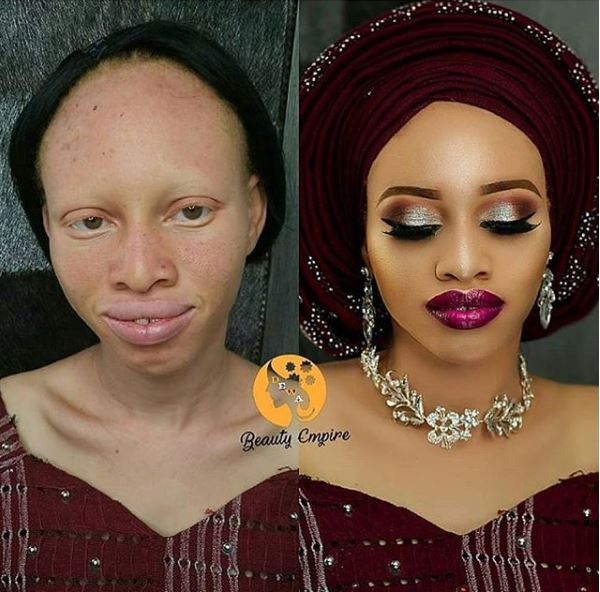 , Check Out Amazing Makeup Transformation Of An Albino Lady (Photos), Effiezy - Top Nigerian News & Entertainment Website
