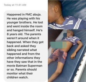 , SAD! 8-Yr-Old Boy Commits Suicide After Losing A Game To His Siblings In Abuja (Photo), Effiezy - Top Nigerian News & Entertainment Website
