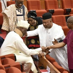 See how PDP senators welcomed Dino Melaye (Photos)