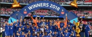 SEE BEEF: Chelsea's Willian covers Antonio Conte's face in their FA Cup winners photo
