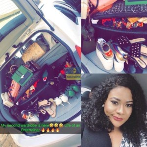 Nollywood Actress, Nkechi Blessing Turns Her Newly Acquired Car To A Wardrobe (Photos)
