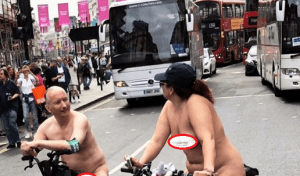 , Naked couple spotted riding bicycles in London (Photos 18+), Effiezy - Top Nigerian News & Entertainment Website