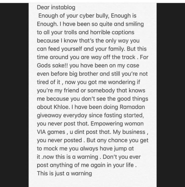 , #BBnaija: Instablog9ja Apologizes To Khloe After They Accused Her Of Having HIV, Effiezy - Top Nigerian News & Entertainment Website