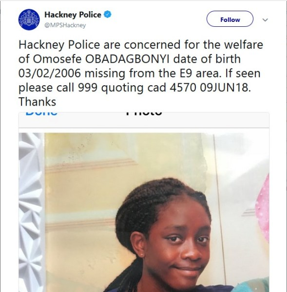 , Nigerian Girl Goes Missing In London; Police releases statement (Photo), Effiezy - Top Nigerian News & Entertainment Website