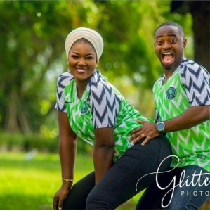 Couple Rocks Super Eagles Jersey In Doggy Style Pre-Wedding (Photos)