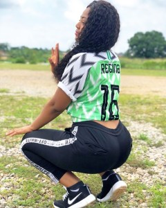 Actress, Regina Daniels Squats In Customized Super Eagles Jersey (Photos)