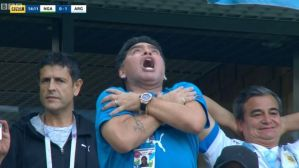 NIGERIA VS ARGENTINA!! Check Out Maradona's Reaction As Messi Scored Nigeria At World Cup 2018 (Video & Photos)